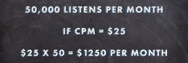 Math showing how dynamic podcast advertising rates are calculated with a CPM.