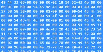 MP3 Digital Data: Binary Header from an MP3 file