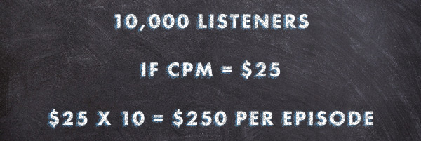 Math showing how traditional podcast advertising rates are calculated with a CPM.